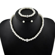 Pearl Jewelry SET Necklace Bracelet and Earring Set White Wedding Bridesmaid USA