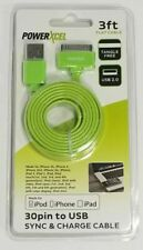 30 Pin to USB 3ft Flat Tangle Data Sync and Charge Cable for iPod iPhone Green