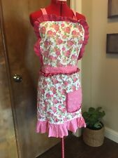 SP Pink Rose Ruffle Full Apron Top Polka Dots Made In India Shabby Chic Country