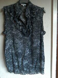 Ladies New Look Sheer Black Sleeveless Top Size 14