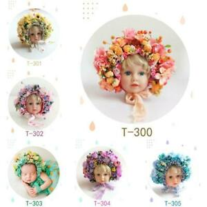 Flowers Florals Hat Newborn Baby Photography Props Handmade Colorful Bonnet r
