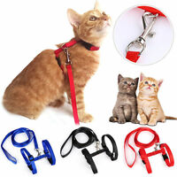 Adjustable Pet Cat Puppy Harness Collar Nylon Leash Lead Safety Walking Rope New