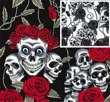Cotton Poplin Skulls and Rose Fabric Material - 0821