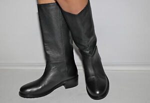 VINCE. Pull On Low Heel Black Leather Tall Riding Boots Size 10 M