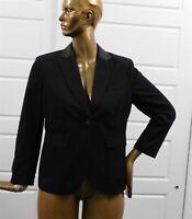 Rag & Bone Black Cotton Leather Blazer Jacket sz 12