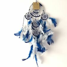 NEW BLUE AND SILVER COLOUR FEATHER DREAM CATCHER NATIVE AMERICAN HANGING MOBILE