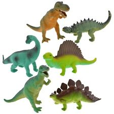 Dinosaur Figurines Semi-Hard Plastic Mixed Set of Assorted Toys 7 inch (6 pcs)