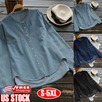 Plus Size Women Summer Long Sleeves T Shirt Tops Casual Button Jean Denim Blouse