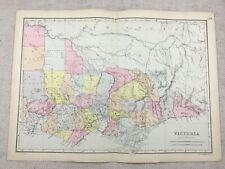 1891 Antique Map of Victoria Australia British Colony 19th Century Original