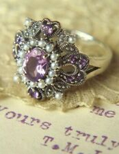 Victorian Trading Co Amethyst & Seed Pearls Statement Ring .925 Sterling Size 8