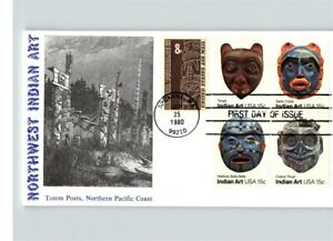 Northwest INDIAN ART, 1980, pic Totem Posts, Northern Pacific Coast, FDC