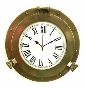 """Porthole 11"""" Antique Marine Brass Ship  Clock Nautical Wall Clock Home Decor"""