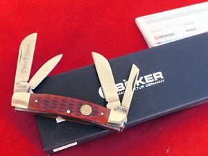 """Boker Tree Brand Germany 3-5/8"""" red Bone 4 Blade Congress Knife MINT IN BOX"""