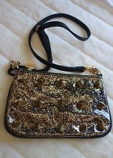 Deux Lux Black  Faux-Leather gold glitter Spiked 'Empire Strikes' Crossbody Bag