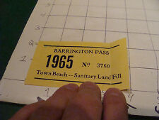 vintage paper: 1965 rhode island TOWN BEACH-SANITARY LAND FILL pass paper