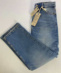 "M&S Denim Ladies Light Indigo Straight Leg STRETCH Jeans Size 8 R Leg 25"" RP£29"