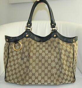 Gucci GG Monogram Brown Canvas Leather Hobo Tote Handbag Purse