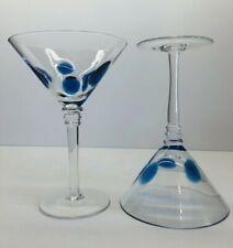 "Set Of 2 Vietri Drop Martini Glasses-Blue 7.25"" Tall"