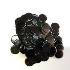 """100 SOLID BLACK PLASTIC BINGO CHIPS - 7/8"""" IN DIAMETER"""