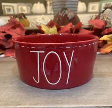 "Rae Dunn - JOY - 6"" Diameter Red Ceramic Dog Bowl - CHRISTMAS 2020"