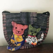 Cat Purse Tapestry Fabric Shoulder Bag Colorful Cats Recycled