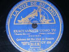 JAZZ 78 rpm RECORD VsA QUINTETO DEL HOT CLUB DE FRANCIA Exactamente como tu /..
