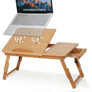 Bamboo Wooden Folding Legs Laptop Notebook Table Bed Sofa Tray PC Desk Stand UK