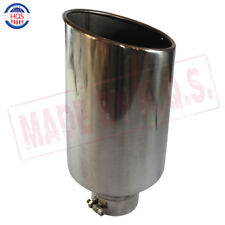 """Chrome Universal Stainless Steel Diesel Exhaust Tip 4"""" Inlet 8"""" Outlet 18"""" Long"""