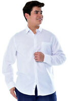 Mens Bohio Linen White Roll-Up Casual Long Sleeve Shirt (S~ 2XL) - MLS3103
