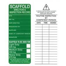 Scaffold Erection and Inspection Record Pkt 25 Safety Sign 205x83mm Tags STG APP