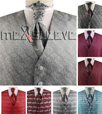 Men's Tuxedo Suits Tailored  Microfiber Paisley Waistcoat Set For Wedding