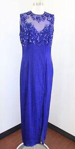Vtg Scala Royal Blue Mesh Silk Beaded Sequin Evening Formal Party Dress Size XL