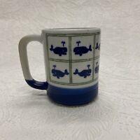 Vintage Otagiri Whales Blue White Speckled Coffee Mug Cup Japan
