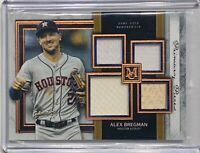 ALEX BREGMAN 2020 TOPPS MUSEUM GAME USED TRIPLE JERSEY BAT RELIC #d/75 ASTROS