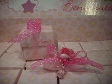 Torta confetti battesim NASCITA cesto scatola 24 CIUCCIO CIUCCETTO ROSA COMPLETA