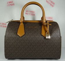 Michael Kors Hayes Brown Acorn PVC MK logo Large Satchel Duffle Bag