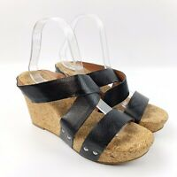 LUCKY BRAND Womens Malda Black Leather Cork Platform Wedge Sandals Studded Sz 9