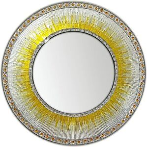 """DecorShore 24"""" Round Wall Mosaic Mirror in Shades of  Yellow, Gold and Silver"""
