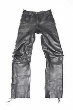 "Black Leather Lace Up Biker Motorcycle Trousers Pants Jeans Size W28"" L31"""