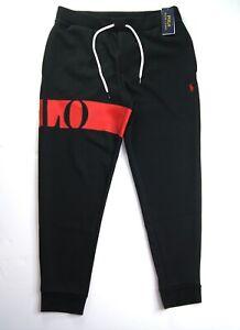 POLO RALPH LAUREN Men's Black Double-Knit Graphic Jogger Pants NWT