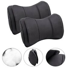 2X Black Genuine Leather Double Layer Car Seat Headrest Neck Rest Pillow Mat Pad