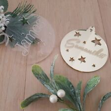 Personalised Christmas Decoration Bauble in Acrylic or Bamboo Wood