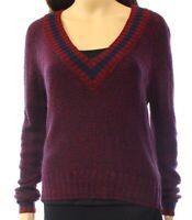 JJ Basics Womens V-neck Knit Long Sleeve Pullover Sweater Multi-Color Size Large