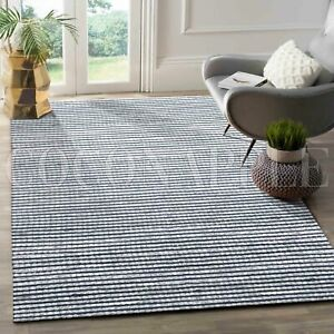 Tohar Blue Ivory Textured Handwoven Wool Floor Rug - 2 Sizes **FREE DELIVERY**