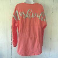 Spirit Jersey T Shirt S Small Nashville Graphic Pink Top Long Sleeve
