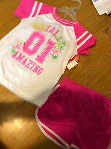 "2 Pc Girls S(6/6X) Top SS Diva Pink W/"" Totally amazing 01"" & Pink Shorts"