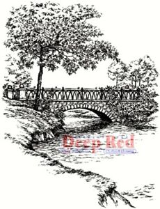 Deep Red Stamps Stone Bridge Rubber Cling Stamp