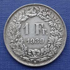 Switzerland 1 Franc Coin~1939 Helvita+Sheild~KM#24~.835 Silver~aVF~A481