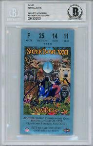 Terrell Davis Autographed Super Bowl XXXII Ticket Stub MVP BAS Slab 32828