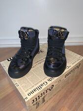 John Galliano Navy Blue High Top Sneakers Shoes Mens Sz 7,5